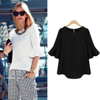 Black Red Big size chiffon blouse 2017 Summer flare sleeve casual loose shirt