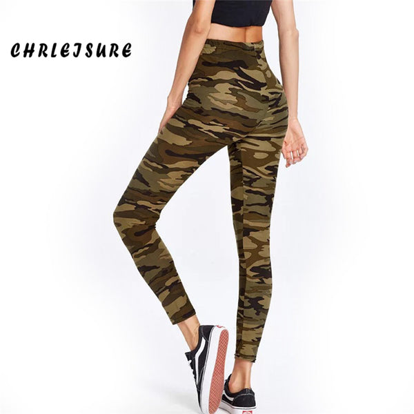 Camouflage Women's Leggings Polyester Print Ankle-Length High Waist