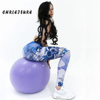 Fashion Trend Blue Skull Printed Leggings Polyester Hips High Waist Breathable