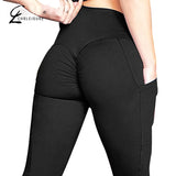Fitness Leggings Women High Waist Workout Legging with Pockets Patchwork Leggins