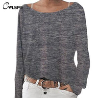 CWLSP Plus Size S-3XL 10 colors Solid T shirt Women Long sleeves O neck t-shirt