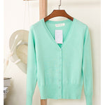 Single Breasted Long Sleeve Casual Knitted Sweater Tops Ladies Cardigans