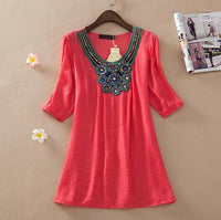 Casual Summer tops women clothing embroidery floral vintage beading top