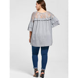 CharMma New 2017 Autumn Lace Up Top Flare Sleeve Yoke Frill Tunic Top Women Clothes 3/4 Sleeve Loose Big Size Plus Size 5XL