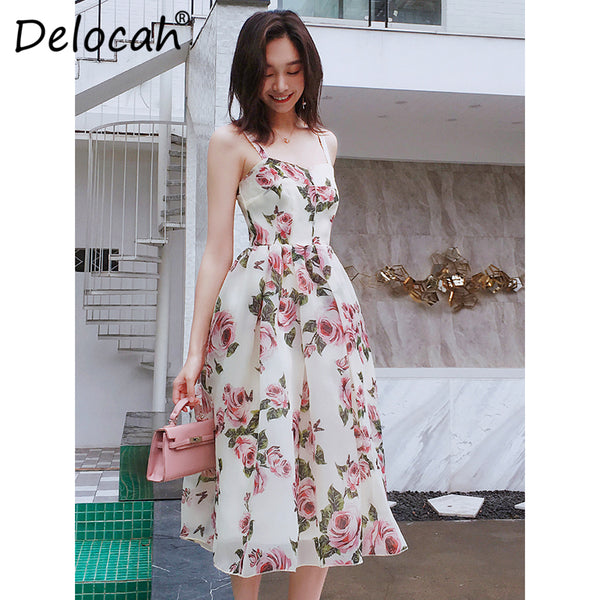 Delocah Fashion Designer Runway Summer Dress Women's Spaghetti Strap Elegant Rose Flower Print