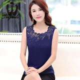 Dingaozlz Summer Casual shirt Plus size clothing Fashion Women embroidery lace blouse Sleeveless Lace Tops 5XL Blusa