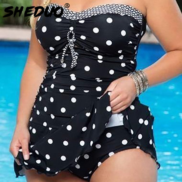 Dots Print Swimwear Brazilian Monokini Skirt Swimsuit Women Bodysuit Plus Size Swimsuit 2017 Vintage Retro Bathing Suit bikinis