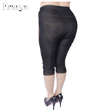ERAEYE Women High Elastic Sexy Faux Jeans Leggings Plus Size Xl-5XL Imitation Jeans Knee Length Pants Skinny Denim Soft Leggings