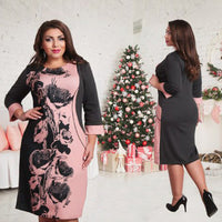 Elegant Fashionable Women Dresses NEW 2017 Plus Size Women Clothing L-6XL Autumn Winter Dress Casual O-neck Printing  Dress