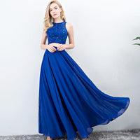 Evening Dresses Long Ever Pretty Women Elegant Navy Blue green Seven colors o-neck Sleeveless Empire Evening Dresses 2018 New