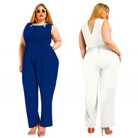Jumpsuits Sleeveless O neck Hollow out Solid color Elastic Waist Long Pants Rompers XL-5XL