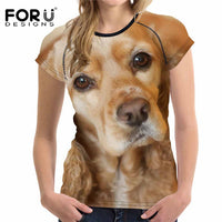 FORUDESIGNS T-shirt Women Top's Funny t-shirt Casual Women's Tshirts US Cocker Spaniel 3D T Shirts Feminism Clothing Plus Size