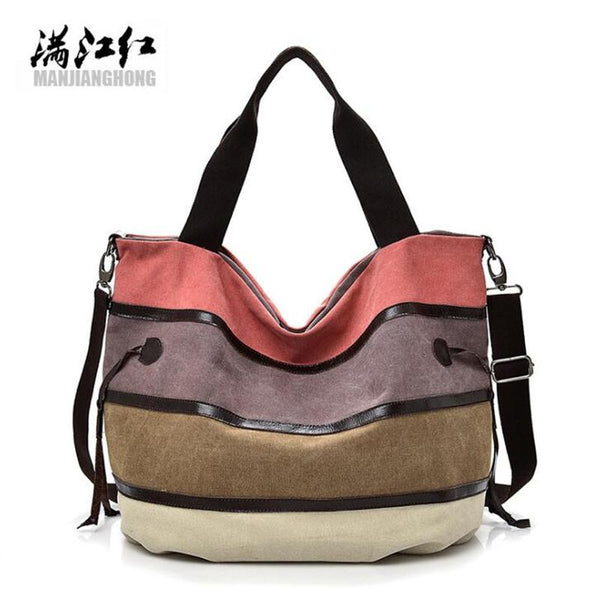 Fashion Patchwork Canvas Women Handbags Colorful Messenger Shoulder Bags For Women Large Ladies Crossbody Tote Bag Female 1399
