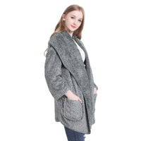 Fashion Winter Warm Cardigans Women Plush Fleece Poncho Cape