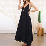 Fashion ZANZEA Women Strappy Lace Up Solid Loose Summer Backless Long Dress Casua