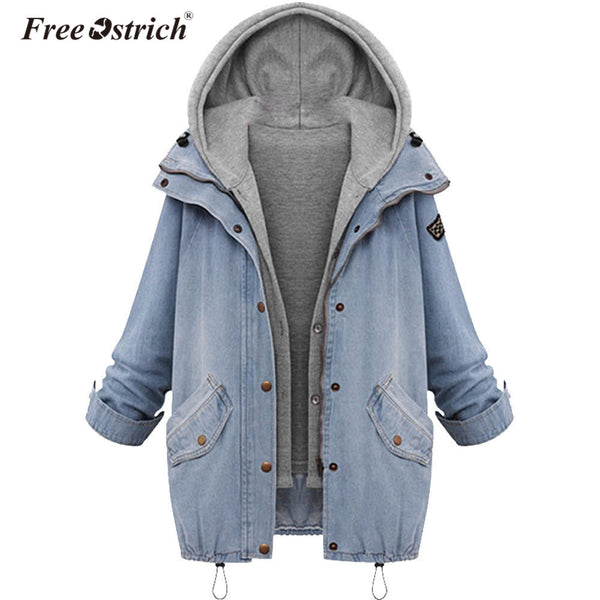 Ostrich Denim Jacket Women Jackets Loose Hooded Tops Cowboy Two Denim Jacket