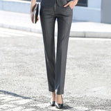 Business Formal Straight Pants Women Striped Trousers