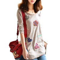 Geometric Loose Winter Tops Long Sleeve Blouse Plus Size Shirt Women Camisas