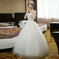 Glamorous Red Wedding Dresses 2018 New Plus Size Long Ivory Wedding Gowns Scoop Appliques Crystal Lace-Up Ball Gown Bride Dress