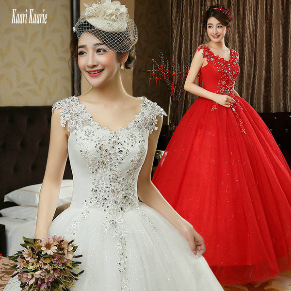 0a56024cc49 Glamorous Red Wedding Dresses 2018 New Plus Size Long Ivory Wedding Gowns  Scoop Appliques Crystal Lace ...