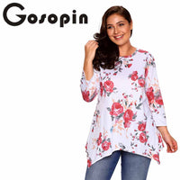 Gosopin Fashion Loose Floral Print Tops Long Sleeve Ladies T-Shirt Plus Size Women Clothing Autumn Winter Grey O Neck LC250371