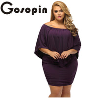Gosopin Off Shoulder Dresses Plus Size Multiple Dressing Layered Sexy Black Mini Dress Vestido Casual Big Women Clothes  LC22820