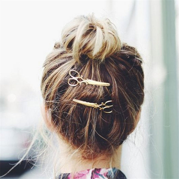 Hot Sale Fashion 1 Pc Women Chic Golden Silvery Scissors Shape Hair Clip Hair Pin