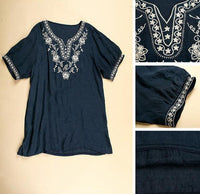 Vintage 70s Mexican Ethnic Embroidery Tent Festival Dress Hippie Clothing summer top