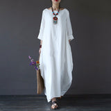 Loose Cotton Linen Dress O-neck White Boho Shirt Dress Long Sleeve Maxi Robe