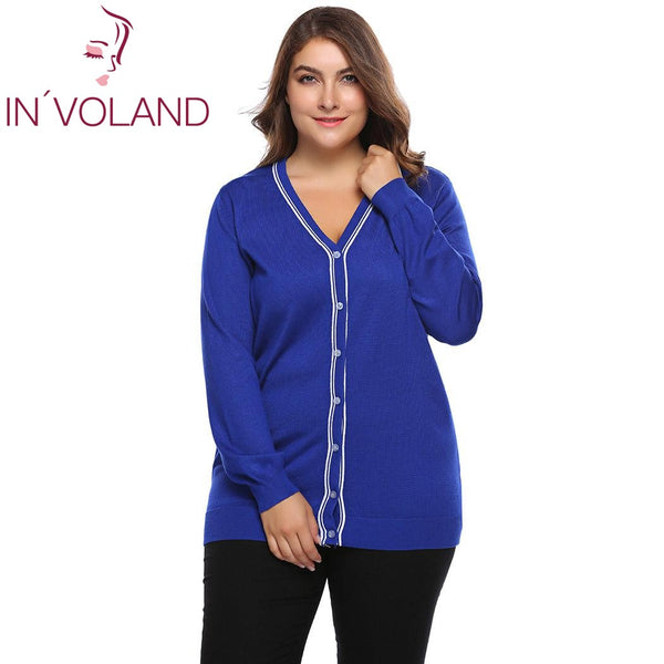 IN'VOLAND Plus Size L-4XL Women Sweater Cardigan Autumn Casual Long Sleeve Button Patchwork Knitwear Large Coat Top Big Size