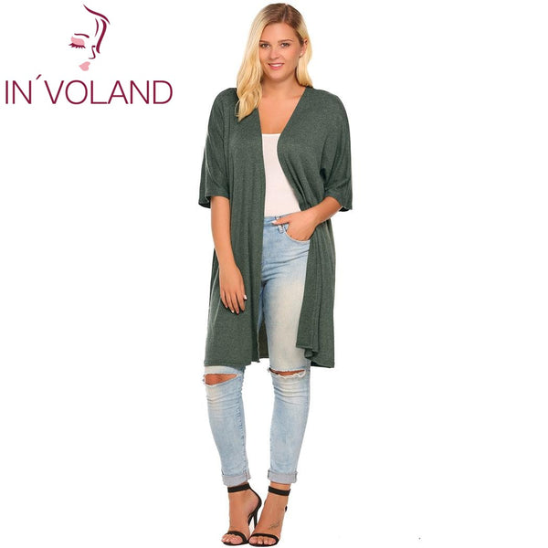 IN'VOLAND Women Cardigan Jacket Casual Half Sleeve Solid Sweater Open Front Coat