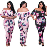 Jumpsuit Womens Elegant Floral Big Plus Size Party Club Overalls Sexy Rompers Womens Jumpsuit L-XXXL Ruffle Off Shoulder