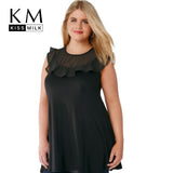 Kissmilk Plus Size New Fashion Women Clothing Casual Black Sleeveless Ruffles T-shirt Women O-Neck Big Size T-shirt 4XL 5XL 6XL