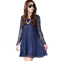 Lace Dress 2018 New spring sexy big plus size women clothes long sleeve lady robe femme Casual dress Tunic L~3XXXL,4XL,5XXXXXL