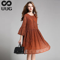 Lace Dress Women Plus Size Clothing 4xl 2017 Summer Casual Loose Women Dress Big Size Elegant A-line O Neck Midi Vintage Dresses