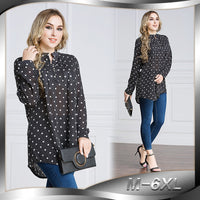 Long Sleeve Dot Women Blouses Shirt Muslim 2017 Autumn New Plus Size Clothing Tops 6xl 5xl 4xl LEORAIN