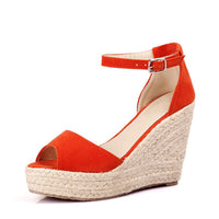 MCCKLE Plus Size Bohemian Women Sandals Ankle Strap Straw Platform