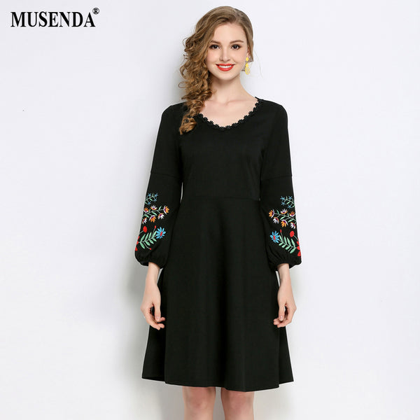 MUSENDA Plus Size Women Black Lace Embroidery Lantern Sleeve Tunic Dress 2018 Spring Female Lady Dresses Clothing Robe Vestido