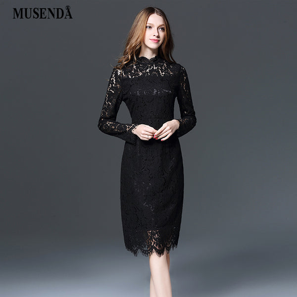 MUSENDA Plus Size Women Elegant Black Lace Slim Pencil Dress 2018 Spring Female Office Lady Party Dresses Vestido Clothing Robe