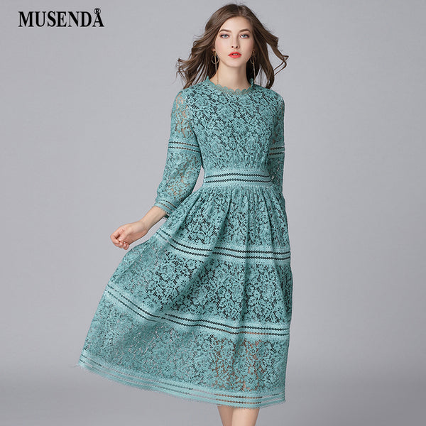 MUSENDA Plus Size Women Elegant Green Hollow Out Lace Tunic Long Dress New 2018 Spring Female Dresses Vestido Robe Clothing 5XL