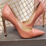 NEW Arrival 2018 Women Sexy Snake High Heels Leather Outsole Metal Heel Shiny Gold Slip On Gladiator Pumps