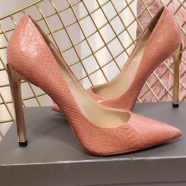 e00d5ff4d11b ... NEW Arrival 2018 Women Sexy Snake High Heels Leather Outsole Metal Heel  Shiny Gold Slip On ...