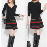 Winter Autumn Sweater Dress Long-sleeve Plus Size Clothing One-piece Dress Wool Knitted Striped Pleated Casual Dress
