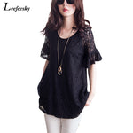 New 2017 Women Tops Lace Crochet Shirts Elegant Black Lace Blouse Shirt Women Clothing Plus Size 5XL Roupas Feminina Blusa Renda