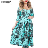 New 5xl 6xl Plus Size Print Dress Spring Summer Women clothing 2018 vintage floral print Big Sizes female office Dress Vestidos