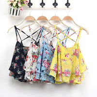 New Arrival 2018 Floral Print Shirt Women Shirts Tanks Top Summer Clothing Spaghetti Strap Vest Sexy Tanks Tops Female