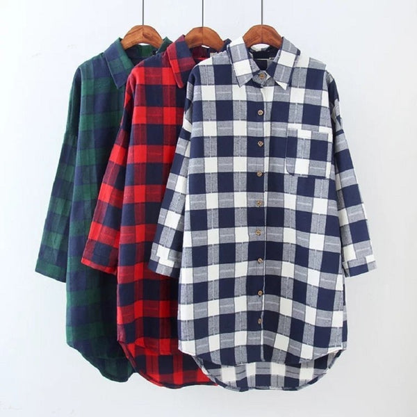 New spring/winter women's  shirts brush check fabric