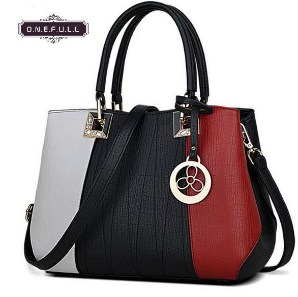 High quality pu leather shoulder bag women zipper patchwork sweet lady casual