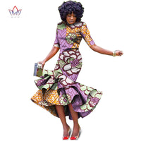 Plus Size 2018 New African Dresses for Women Dashiki Elegant Slim Africa Clothes Bazin Riche Sheath Pleated Party Dress WY1027 1
