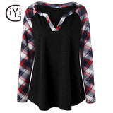 Plus Size 5XL Casual Loose Plaid Tops Tees Women Clothing 2017 Autumn Spring Long Sleeve Checked T-shirt Oversized T Shirt
